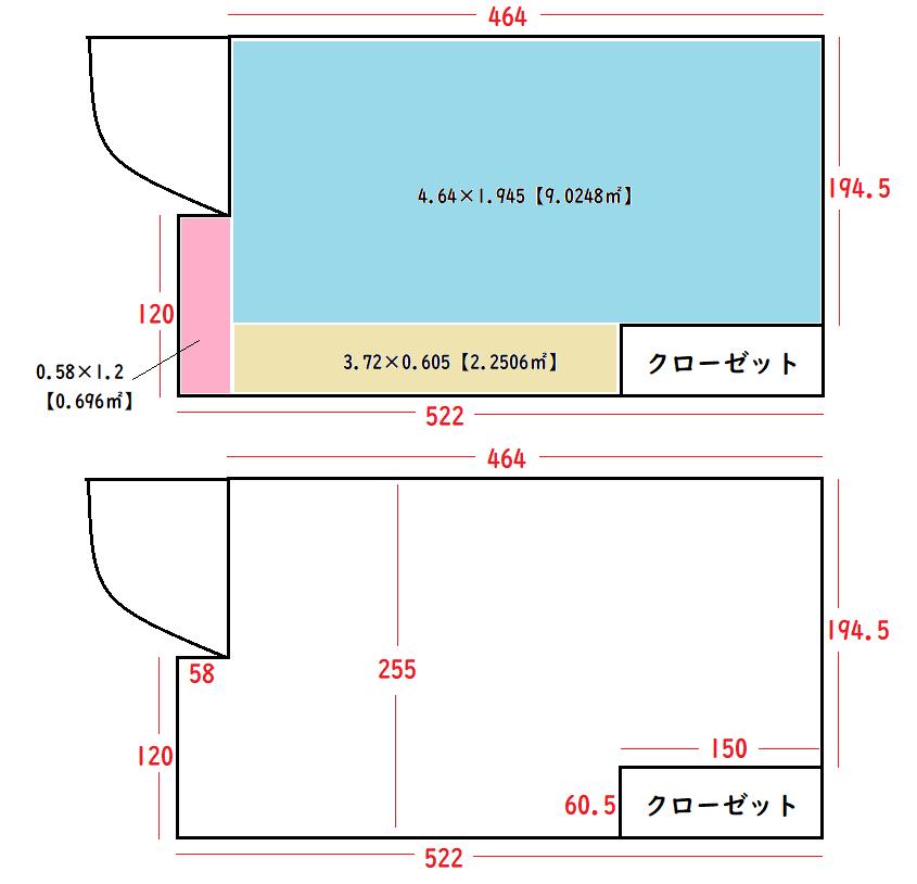 以下の画像の間取りのアパートに住んでいるのですが、広さは6.5~6.6帖で合ってますでしょうか? 居住地は関西(滋賀)ですので、京間で計算しています。