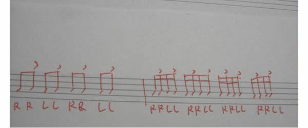ドラムのダブルストロークのことなんですけど、この譜面の場合にはアップストロークとダウンストロークでダブルをやればいいってことでしょうか? また、アクセントのあるダブルとない場合では叩き方は異なるんでし ょうか? よろしくお願いします。