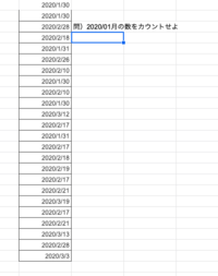 スプレッドシートのcountifs について質問です 下記のシートで1月だけの数値をカウントしたい場合どのように関数をくめば 良いのでしょうか? どなたか教えてくださる方がいましたら教えてください よろしくお願いいたします