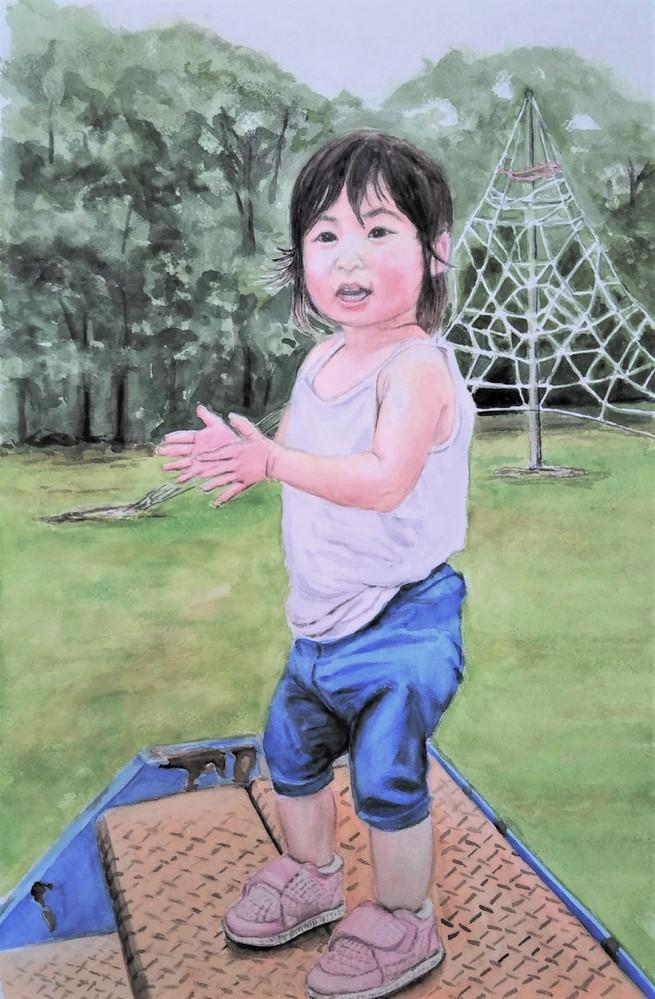 透明水彩で、また人物画を描きました。 モチーフは2歳の孫娘ですが、どうでしょうか? 透明水彩で人の顔を描くのは、なかなか難しいです・・・特に肌の重色