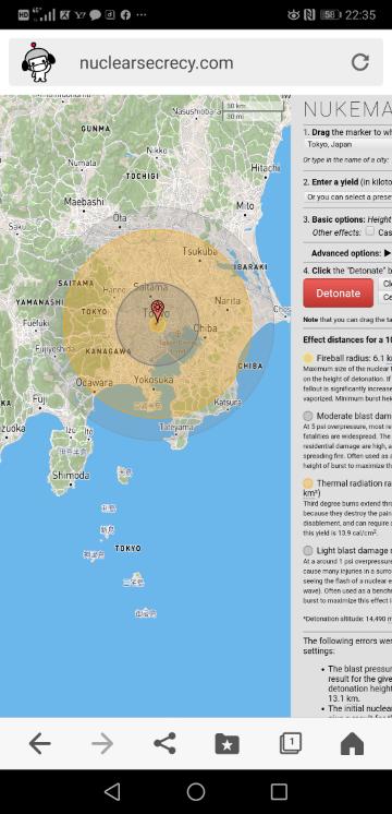 東京で北朝鮮の100メガトンの核ミサイルが爆発すれば、つくばや小田原や房総半島ほぼ全てがやられてしまうそうですが、やはり我々は北に対する先制攻撃も念頭に入れておくべきですか?