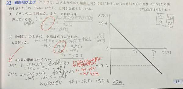 物理基礎 鉛直投げ上げ運動の問題です (3)の問題なのですがなぜ(Bの時の位置)-(Aの時の位置)という計算ではなくBの時の位置がAB間の距離になるのでしょうか?
