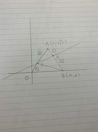 三角形OABは正三角形であり、 OP:PA=1:2,BQ:QA=2:1である。(点Oは原点)  (1)点P,点Qを通る直線の方程式を求めよ。 (2)三角形APBの面積を求めよ。