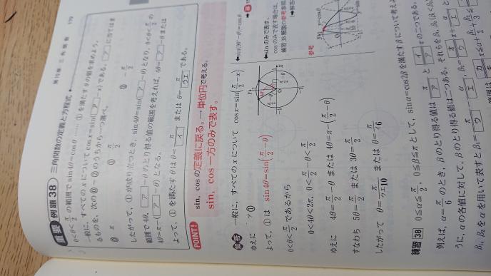 この問題の4θ=π-(π/2-θ)がなぜできるのかが分かりません教えてください。範囲は 0<4θ<2π 0<π/2-θ<π/2 です。