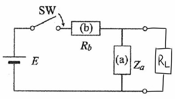 電気回路の問題です。 ZaをコンデンサCとした時、ラプラス変換を持ちいて、抵抗RLに流れる電流を求めてください。 途中式も教えてくださると幸いです