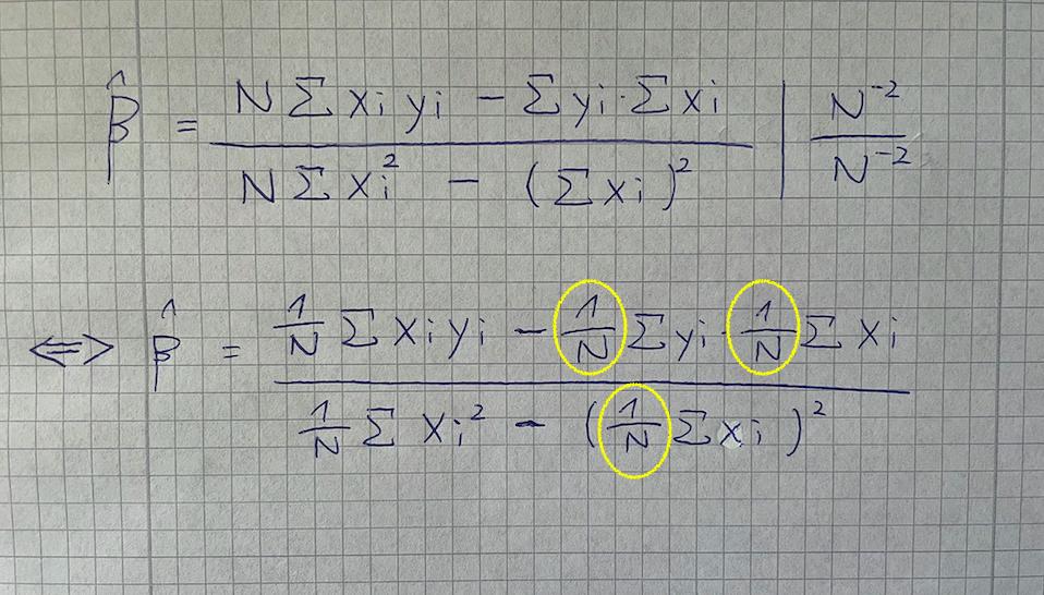 この写真の数式の黄色の丸で囲んである、1/N はどうやったら出てくるのでしょうか? 教えていただけると嬉しいです。よろしくお願いします。