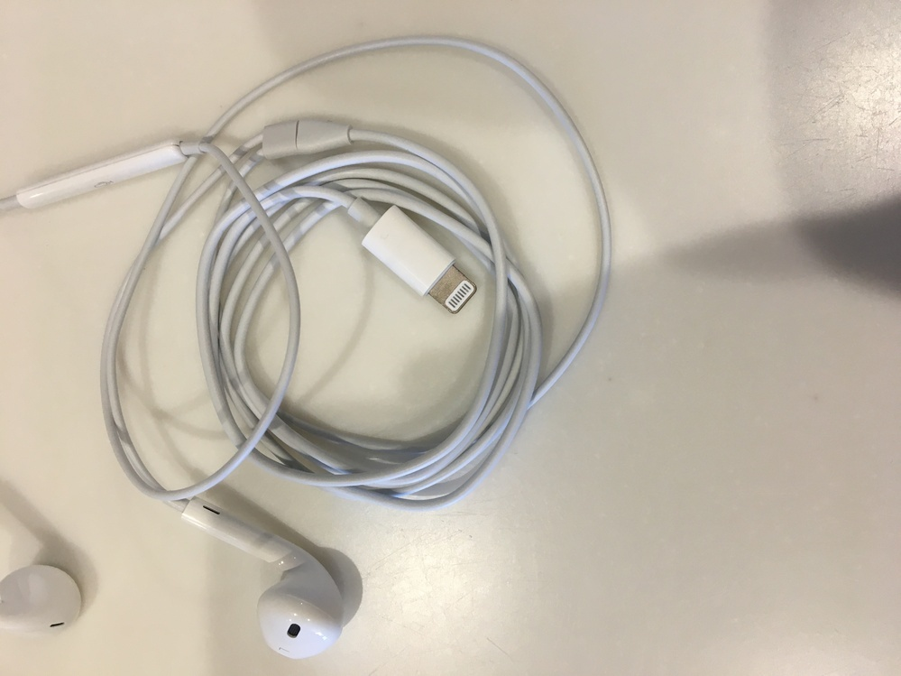 iPhone6S使用してるんですけど間違えて画像のイヤホンを買ってしまい本当はイヤホンジャックがついてるイヤホン買おうと思ったんですけど…(;´Д `)イヤホンと充電一緒にしたいので解決策ありませんか?