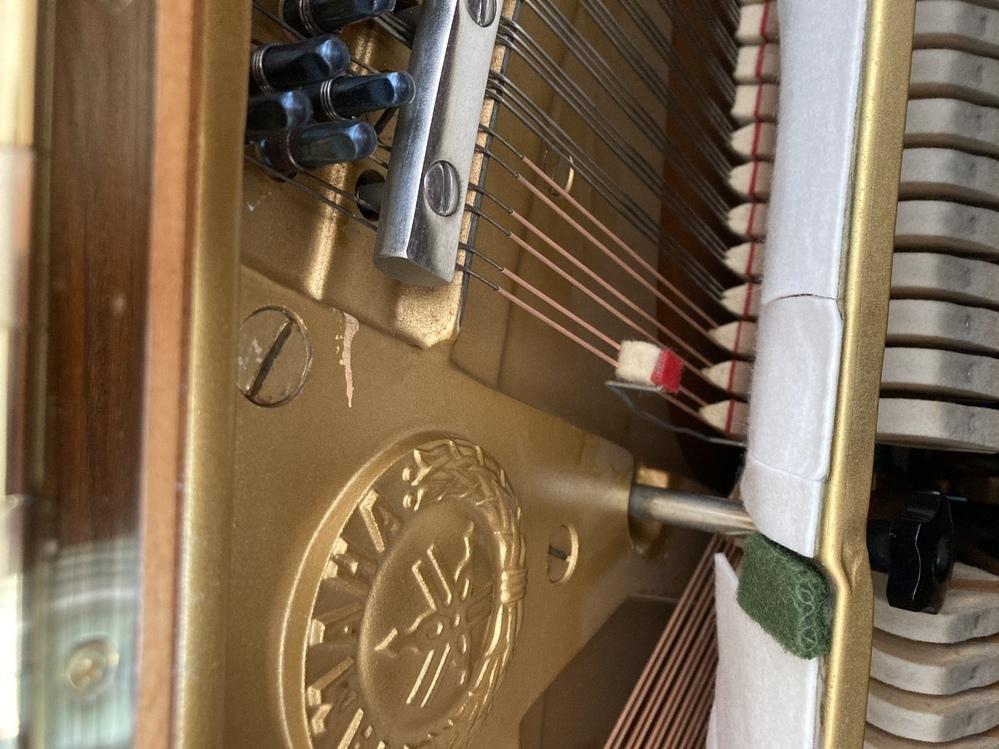 アップライトピアノの先日購入しました。 シの音に違和感があり、中を開けたら弦の所にこのようなものがありました。 他の弦の所はありません。 シの弦のみです。 詳しい方教えてくだい。あっていいものなんでしょうか? ペダルを押して弾いても他の音より短く切れてしまいます。 よろしくお願いします。