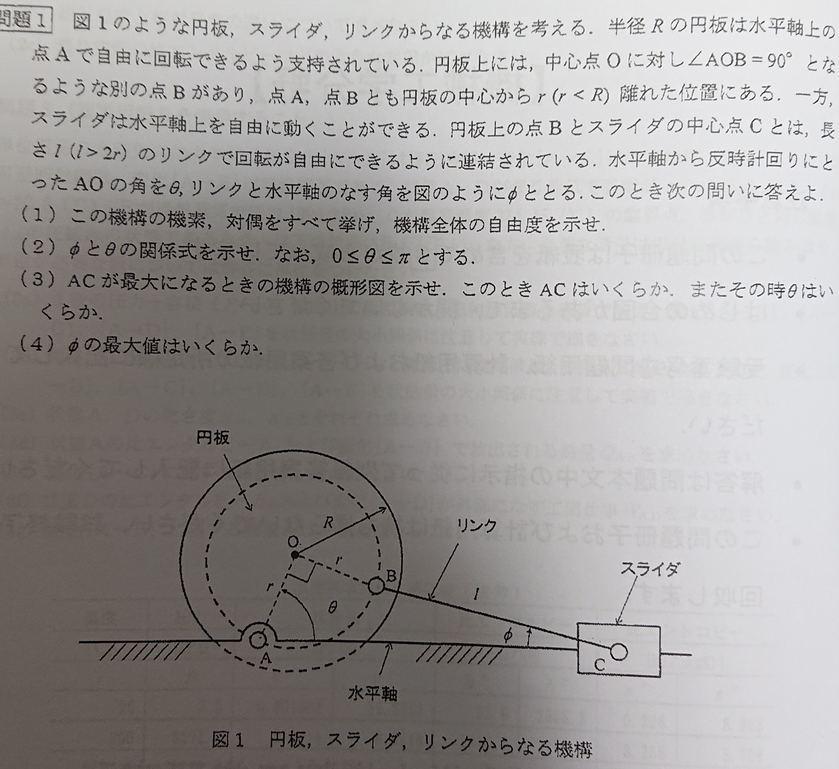 大学3回生の者です。 機械力学について質問です。 下記の問題(1)~(4)の解法をどなたか分かる方いれば教えて頂けないでしょうか。 その他不明なことがあれば仰って下さい