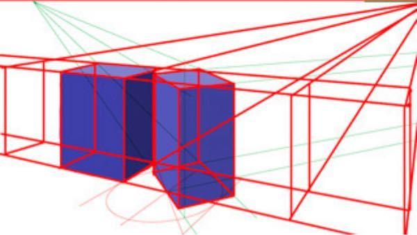 どなたか教えてください…!背景(建物など)の遠近差などの描き方が分かりません。 なんか、知恵袋で見たのですが、こういう感じの、2点透視パースとか、収束点とかって何ですか? この赤い線とか緑の線の意味?は何ですか? また、そういう感じのを詳しく書いてある専門的な本などってありますか?