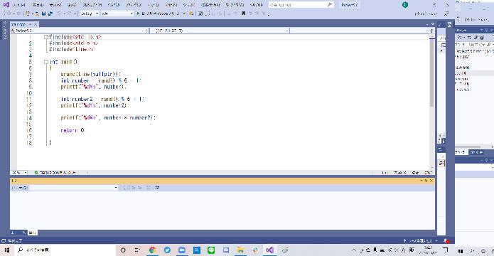 1、 6面サイコロint型変数diceを用意して、ランダム値(1〜6)を代入する 2、 もしif(dice)の値が1だとしたら「1が出た」と出力するにはどうすればいいですか? プログラムの準備...