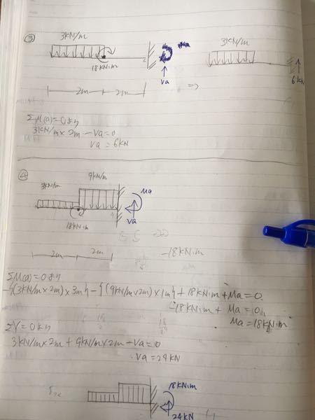構造力学についてなのですが、この③と④の答えで、③は反力にモーメントがないのに、④にはあるのはなぜですか?超ド初心者なので、わかりやすい言葉で説明していただけると嬉しいです。