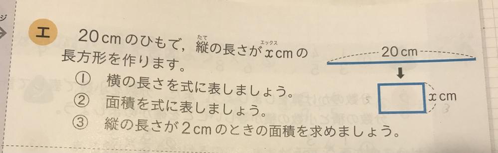 小学6年生の算数の問題です 20cmのひもで、縦の長さがxcmの長方形を作ります ①横の長さを式に表しましょう ②面積を式に表しましょう ③縦の長さが2cmのときの面積を求めましょう