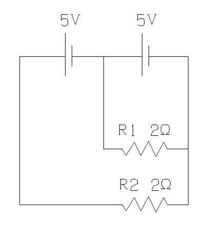 「電気回路」 この電気回路で各抵抗には何Aの電流が流れますか?