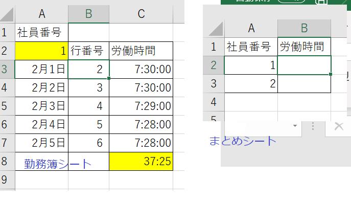 """Excel VBA の質問です。マクロ初心者です。お手柔らかにお願いします。 「勤務簿」シートから、総労働時間を転記して、 「まとめ」シートにリストアップする作業をマクロでやりたいと思っています。 ちなみに、「勤務簿」シートには、 「元データ」シートから労働時間を拾う関数が入っています。 Sub 総労働時間リストアップ() Dim LastRow As Long Dim i As Long Dim No As Long Dim ws1 As Worksheet Dim ws2 As Worksheet Set ws1 = Worksheets(""""勤務簿"""") Set ws2 = Worksheets(""""まとめ"""") With Worksheets(""""まとめ"""") LastRow = .Cells(.Rows.Count, """"A"""").End(xlUp).Row For i = 1 To LastRow No = .Range(""""A"""" & i).Value ws1.Range(""""A2"""").Value = No ws1.Range(""""C8"""").Value = ws1.Range(""""B"""" & i).Value Next i End With End Sub 自分なりに色々なサイトを参考にしたのですが、 No = .Range(""""A"""" & i).Value のところで「型が一致しません」エラーが出るのと、 転記のところの構文が合っているのかが分かりません。 ほぼ丸投げする形で大変申し訳ないのですが、 書き換えて頂ければと存じます。 よろしくお願いいたします。"""