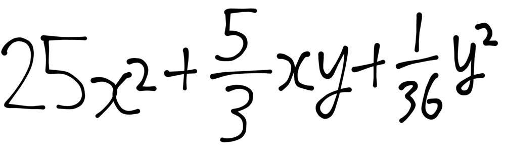 中学3年数学因数分解、解き方教えてください。 25エックスの二乗+3分の五エックスワイ+36分の1ワイの二乗 答えは(5エックス+6分の1ワイ)² 分かりやすく解説お願いします!!