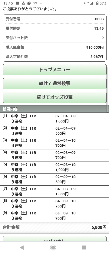 danの京都新聞杯。 ほとんどやる気なかったが 超遊び馬券で気楽に遊んでみる。 6800円ならオッズが動いても大した事ないので 既に購入済み。 期待しているのは 5番人気ゲヴィナーと6番人気ヴェローチェオロ。 この2頭から4 8 10への3連複を買ってみる。 京都新聞杯の馬券を買う方はどうですか?
