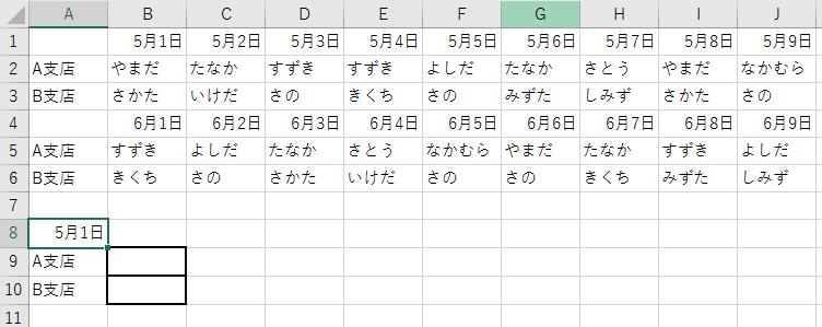 EXCEL2016 HLOOKUPについて 恐縮ですが、教えてください。 ①B1~J1には、奇数月の日付け(例:5/1~5/8)が入っています。 ②B2~J2には、それぞれの日の担当者名(A支店)が入っています。 ③B3~J3には、それぞれの日の担当者名(B支店)が入っています。 ③B4~J4には、偶数月の日付け(例:6/1~6/8)が入っています。 ④B5~J5には、それぞれの日の担当者名(A支店)が入っています。 ⑤B6~J6には、それぞれの日の担当者名(B支店)が入っています。 ⑥B1~J1、およびB4~J4の日にちは、その月が終わると上書きされます。 例)5月が終われば、B1~J1は7/1~7/8に上書きされる。 この条件で、 A8セルに「5/1」と入力したら、B9に「やまだ」、B10に「さかた」、 A8セルに「6/3」と入力したら、B9に「たなか」、B10に「さかた」と 返されるような計算式が欲しいです。 要は、HLOOKUPで計算式を作るときに、 ●A8=奇数月(1,3,5,7,9,11月)だったら、B1:J3の範囲を参照し、 一致する日付けに該当する担当者名をB9,B10に返す ●A8=偶数月(2,4,6,8,10,12月)だったら、B4:J6の範囲を参照し、 一致する日付けに該当する担当者名をB9,B10に返す という計算式を作りたいのですが、もうちんぷんかんぷんです。 そもそもこんな計算式が成り立つのかもわかりません。 どなかた詳しい方、お知恵をお貸しいただけませんでしょうか。 よろしくお願いいたします。