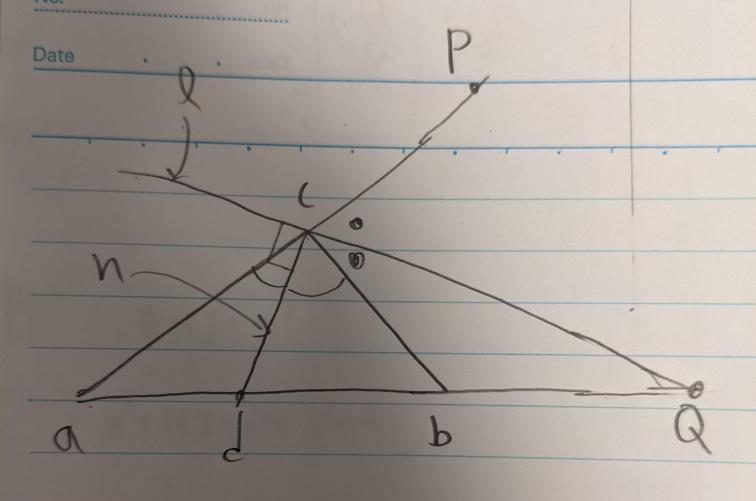平面幾何 三角形abcにおいて 点cを通る直線lが外角のPcdの2等分線のとき、点cを通る直線lの法線nがacbの二等分線になるのはなぜですか?