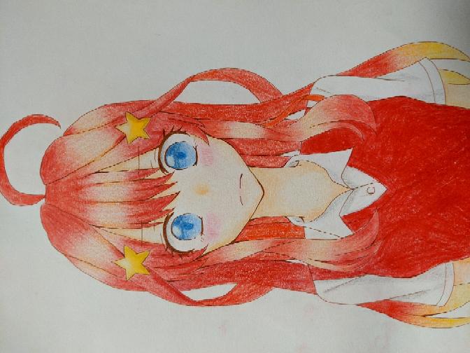 五等分の花嫁描きました。 アドバイスお願いします。 色鉛筆です。 横ですみません...(^_^;)