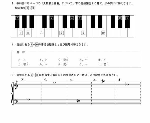 音楽の問題です。 答えを教えてください。