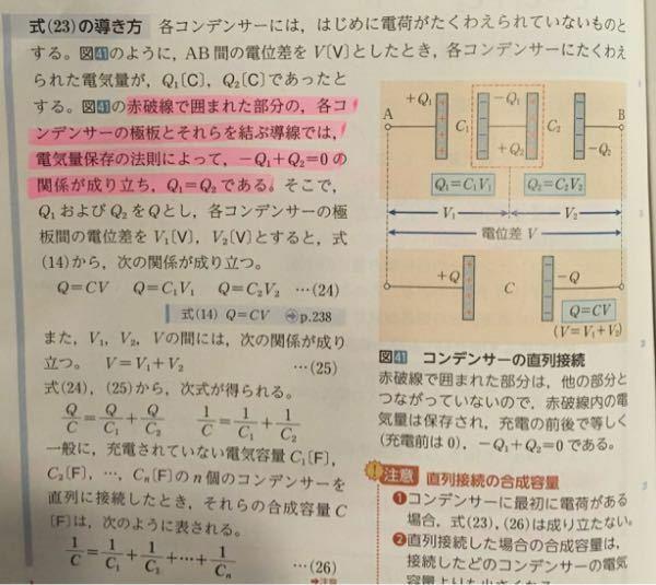 ピンクのマーカー部分についてです。 なぜ赤破線で囲まれたところで電気量が保存されるのでしょうか? 高校物理 コンデンサー 直列接続 電気と磁気
