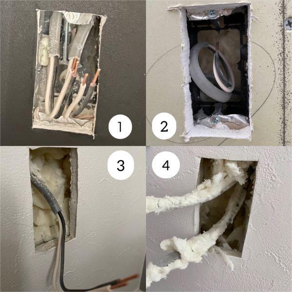 新築で省令準耐火仕様です。 石膏ボードとクロスの作業が終わったところです。 断熱材は吹付け断熱でアクアフォームになります。 コンセントとスイッチがつくところに黒い配ボックスがついていたのですが...