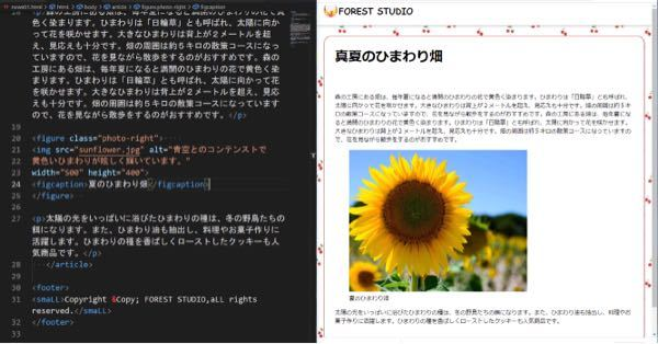 """HTMLについて。ひまわりの写真を右に寄せれません。なぜですか?左と真ん中は動きます。右だけがなぜか写真を動すことができません。figure class= にはちゃんと""""photo-right""""と入力しました。 ※連投ですみません。"""
