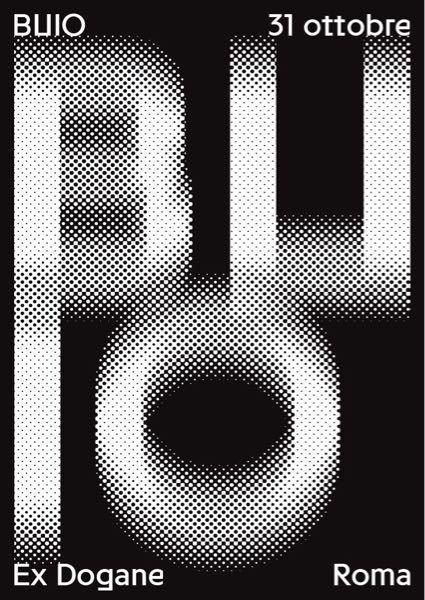 IllustratorまたはPhotoshopを使ってこのような文字のグラフィックを作りたいです。 ドットはハーフトーン効果でやるのだと思いますが、このようにぶれさせるにはどうやって作ればいいの...