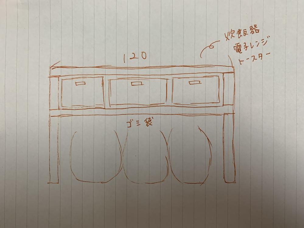 この棚の作り方を教えてください!! ホームセンターで木材を切り取ってもらい 作成したいと考えています。 DIY初心者なので横幅の木材の厚みはどのくらいあれば炊飯器などを置いても強度が保てるのか、 他にも横幅120取る場合強度をあげるための方法を教えて頂きたいです。 YouTubeなどである程度の棚の作り方は把握できたのですが、私が作りたいものと同じような物がなく、是非アドバイスをお願い致します(>_<)