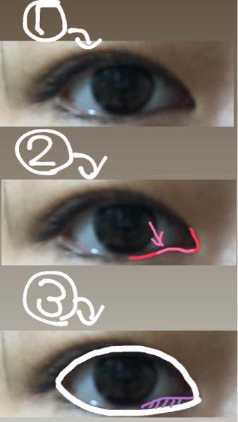 目の形を変えたいです。 まだ中学生なためマッサージ等でできるのでお願いします。 下の写真の①②を見てもらうとわかるのですが目頭付近の下のピンク色で書いたところの部分が嫌で③の紫の部分をなくし白...