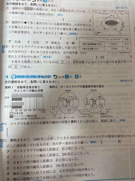 (3)の②なんですけど、答えに生産量を面積で割るって書いてあるんですけど何故ですか?それと答えがオーストラリアが約2.0t日本が3.9tになるんですけど私がやったらオーストラリア0.2、日本が0.39とかになったんです けどなんででしょうか?