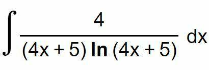 以下の写真の積分の解き方を教えて下さい。 答えは ln( | ln(4x+5) | )+C となるようなのですが、途中計算が分かりません。 よろしくお願い致します。