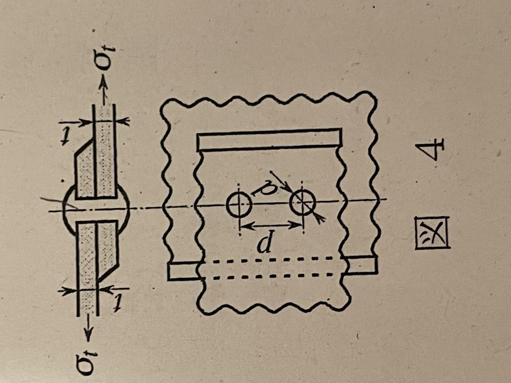 工業力学問題です。 図4に示すように、 一列リベット重ね繋ぎ手において板がリベット間最小断面で引張破壊を、 また、リベットがせん断破壊しない。 リベットピッチ と d を求めよ。ただし、板材の引...