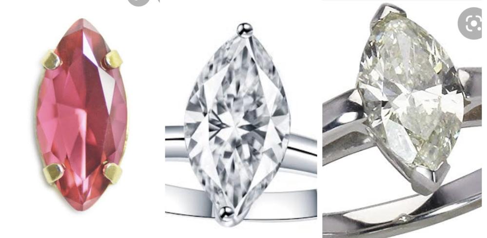 マーキスカットのカラーストーンリングのオーダー相談中なのですが、爪の形で悩んでいます。どの留め方が可愛いと思いますか? 石の種類はマーキスカットからなんでもいいので何になるか未定です。予算的にトパーズが有力です。