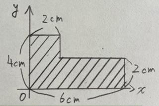 写真にある図形で、斜線をほどこした部分の図心を求めてください。 よろしくお願いします。