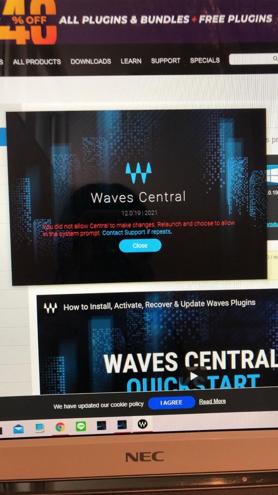 Waves プラグインのダウンロードエラーについて。 環境はWindows10 です DAWはスタジオ・ワン5です ①サイトでユーザ登録 ②製品登録 ③ダウンロード ④インストール←ここでエ...