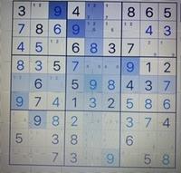 数独の解き方を教えて下さい  よく、こんな形で手詰まりします 2つの選択肢のいずれかを試しに入れてみるしか方法が無いのでしょうか?