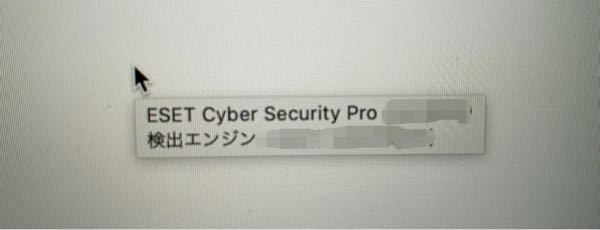 パソコンに詳しい方お願いします。 使っているMacBookのカーソルに、ずっと「ESET CYber Security Pro 検出エンジン*****(数字)」の文字が付き纏ってくるのですが、E...