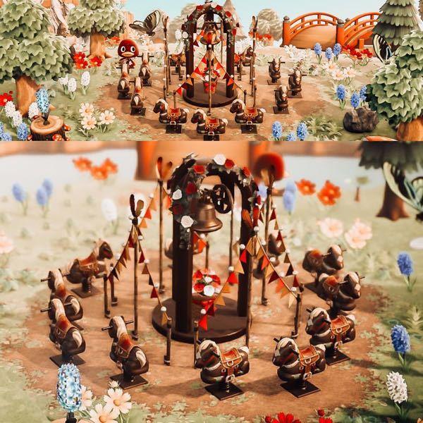 海外のあつまれどうぶつの森のユーザーの写真がTwitterでまわってきました。 こちらの真ん中にあるスプリング遊具に囲まれた家具は見たことがないのですがなんて言う名前でどこで入手出来ますか?