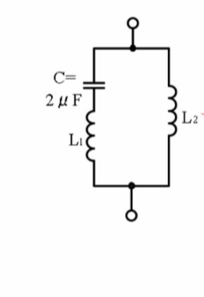 回路 電気 の問題です C=2μFの時 共振角周波数10000rad/s 反共振角周波数6200rad/s としたいのですが、L1とL2の求め方を教えてください