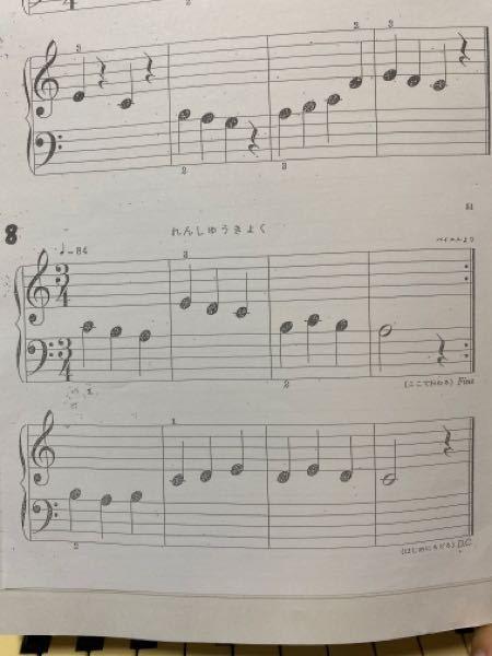 楽譜の4分の3の上に書いてある84ってどういう意味がありますか? バイエルの何番か分かりますか?