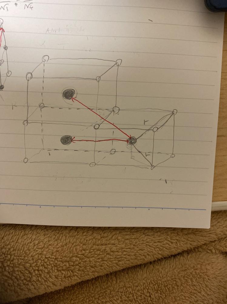 以下の図の赤線の長さをrを用いて途中式も含めて答えてほしいです。 ここではrを立方体の中心の黒い点から立方体の各頂点の白い点までとしています。