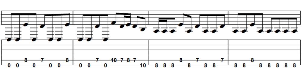 このギターのフレーズの弾き方について テンポ195のメタルのフレーズを練習しているのですが、 オルタネイトピッキングだと1小節目の最後5弦8フレットが外側を弾く感じになって、 初心者の自分にはとても弾き難くその後がおぼつかない感じになります。 この5弦8フレットだけダウンにしても2小節目の7フレットがまた外側になってしまうので難しい感じです。 これは全てダウンピッキングで練習した方がいいのでしょうか? また、みなさんならどちらの方が弾きやすいか教えて欲しいです。