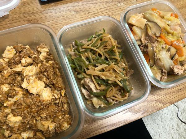 麻婆豆腐、青椒肉絲、八宝菜 作り置き、見た目微妙ですか? 料理上手とは思いませんよね?