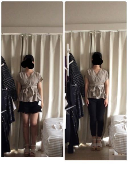 骨格ストレートなのですが、この服だとボトムスはどっちの方がいいですか? これの服は骨格にあっていますか? あと、この服おばさんくさいですかね?10代なんですけど、老けて見えますか?