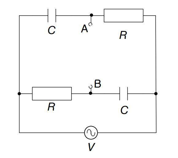 物理 電気回路 テブナンの定理 ①端子AB間の電圧VAB=V(jωCR-1)/(jωCR+1)でいいですか? ②端子ABからみたインピーダンスZの値が分かりません. 解説よろしくお願いします。