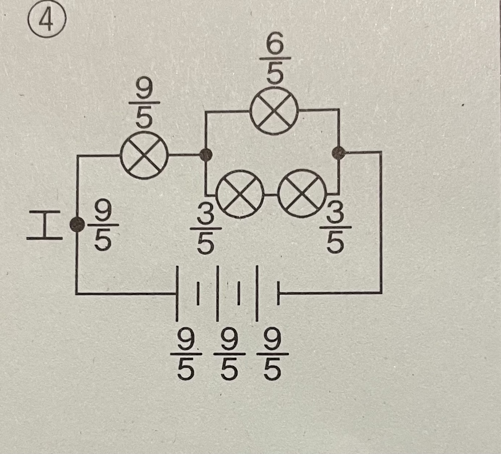 中学受験の理科です。 豆電球1個、乾電池1個をつないだ回路に流れる電流の大きさを1とすると、図のようになるそうです。 なぜこの図の数字のようになるのか教えてください!!
