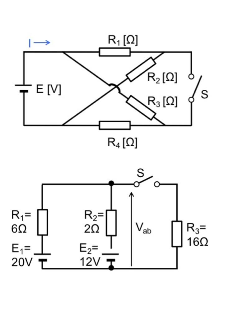 以下の問題分かる方いらっしゃいましたら、教えて頂きたいです。 上の問題 ①スイッチを開放した場合の回路に流れる電流I ②スイッチを閉じた場合の回路に流れる電流I 下の問題 ① スイッチを開放した場合の電位差Vab ② スイッチを開放した場合の電位差Vab