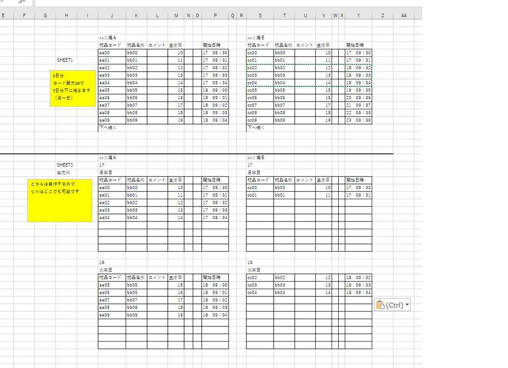 (詳細を挙げての再質問です) 会社のソフトからのエクスポートの表はAIでやっているので 実作業とは差異があるのです。 (AIがもう少し利口ならいいのですが・・) そこで自作の月~日曜日の表を作って そこで順番を自分で入れ替えたりして実作業に合うように修正し またほかの会社のエクセルファイルに戻したいのです。 イメージはsheet1に張り付けて sheet2で加工・出力みたいな感じがいいのです。 最大でコードは一日10個*7日分あります。 セル位置はSHEET1はこの通りで SHEET2は自作なのでどこでもいいです。 (画像上はSHEET1と同じになってますが) マスターのみなさんお助けください。